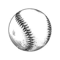 Hand drawn sketch of baseball ball in black isolated on white background. Detailed vintage style drawing. Vector illustration