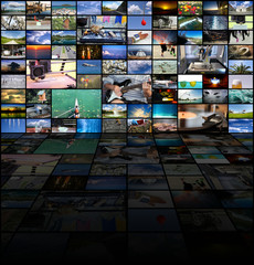 Big multimedia video wall with A variety of images