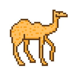 Pixel art camel character isolated on white background. Wildlife/zoo/desert/circus animal icon. Cute 8 bit logo. Retro vintage 80s; 90s slot machine/video game graphics.