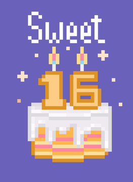 Retro 80s,90s pixel art happy birthday card with words and cake with dripping white frosting and burning candles on violet background. Colorful Sweet 16 party invitation template. Sweet dessert poster