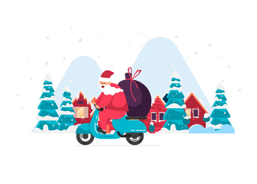 Merry Christmas! Santa is carrying gifts