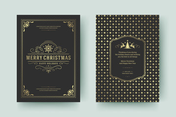 Christmas greeting card design template vector illustration.