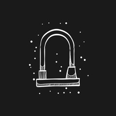 Sketch icon in black - Bicycle lock