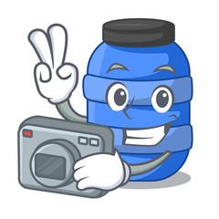 Photographer cartoon plastic barrel for trash dry