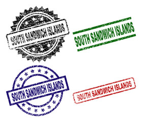 SOUTH SANDWICH ISLANDS seal stamps with corroded texture. Black, green,red,blue vector rubber prints of SOUTH SANDWICH ISLANDS tag with corroded texture. Rubber seals with round, rectangle,