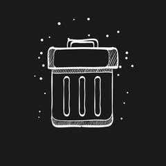 Sketch icon in black - Trash bin