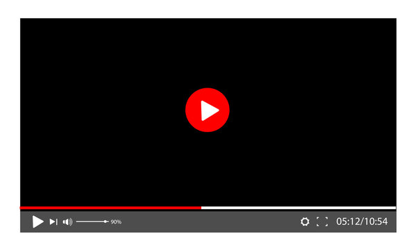 screen video player. template for a web site or application. Play movie
