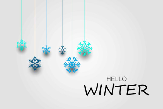 Hello winter banner with snowflakes