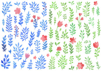 Set of vector watercolor florals