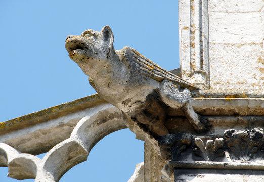Ville de Vernon, gargouille collégiale Notre-Dame, département de l'Eure, Normandie, France