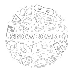Snowboard background from line icon. Linear vector pattern. Vector illustration