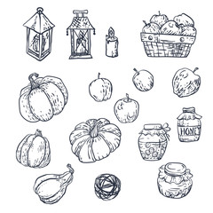 Set with household elements in vector