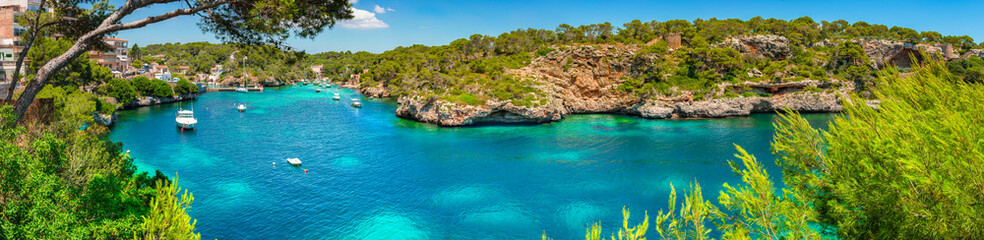 Beautiful bay of Cala Figuera, seaside panorama on Majorca, Balearic Islands