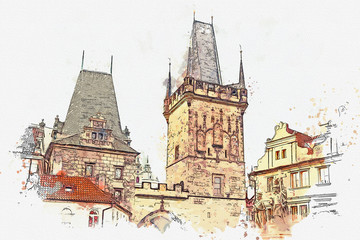 an illustration of a tower and other buildings at the entrance to the Charles Bridge in Prague in the Czech Republic. Traditional strinite architecture.