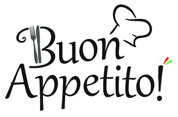 Buon Appetito Italian vector logo with chef's hat, fork and knife