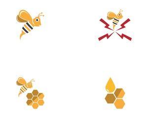 Honey bee logo design vector illustration