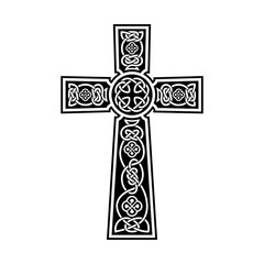 Celtic cross ornament on a black background