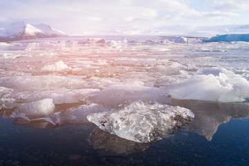 Iceland Jokulsarlon ice glacier and lagoon, winter season natural landscape background