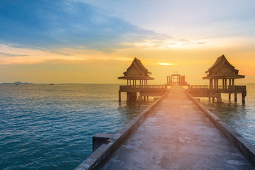 Walking way with sunset sky over ocean, natural landscape background