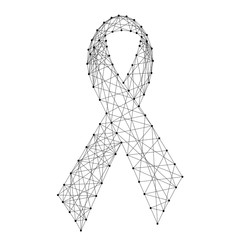Ribbon symbol of the fight against AIDS from abstract futuristic polygonal black lines and dots. Vector illustration.