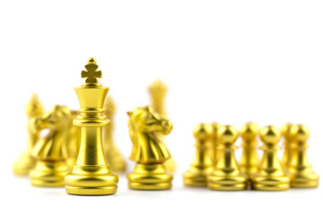 Gold king in chess game with Concept for company strategy,business victory or decision the path to success.