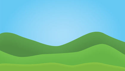 Flat design illustration of mountain landscape with hills under blue sky