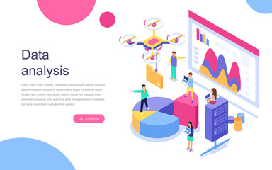 Modern flat design isometric concept of Auditing, Data Analysis for banner and website. Landing page template. Audit documentation, economic analysis financial budget. Vector illustration.