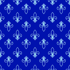 Seamless pattern. Fleur de lis. Linear graphics. Geometric symmetrical drawing. Blue background.