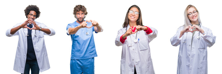 Collage of group of doctor, nurse, surgeon people over isolated background smiling in love showing heart symbol and shape with hands. Romantic concept.