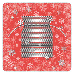Vintage card. Knitting. Gift bag. Snowflakes background. White elements, red background, frame