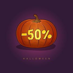 Pumpkin with a 50 Percent Discount, Halloween Sale , Banner with Discounts for the Holiday, Vector Illustration