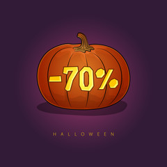 Pumpkin with a 70 Percent Discount, Halloween Sale , Banner with Discounts for the Holiday, Vector Illustration