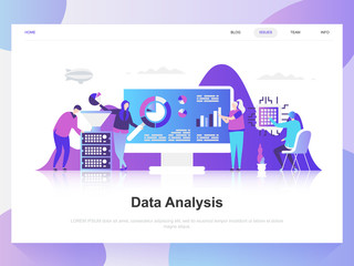 Data analysis modern flat design concept. Landing page template. Modern flat vector illustration concepts for web page, website and mobile website. Easy to edit and customize.