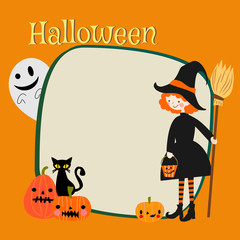Halloween witch and pumpkins background. Halloween greeting card.