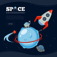 Space travel background. Science discovery to moon