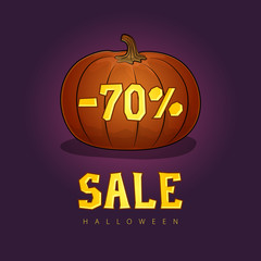 Pumpkin with a 70 Percent Discount and Text Sale, Halloween Sale, Holiday Discounts, Vector Illustration