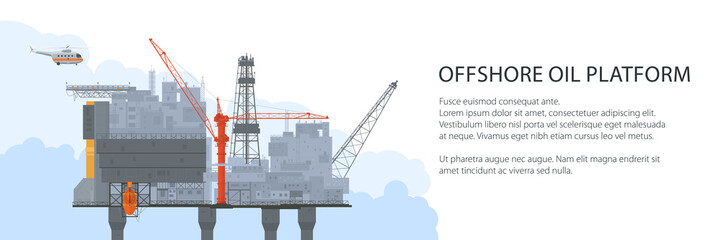 Offshore Sea Oil Platform and Helicopter , Oil Industry Banner , Poster Brochure Flyer Design, Vector Illustration