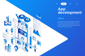App development modern flat design isometric concept. Smartphone and people concept. Landing page template. Conceptual isometric vector illustration for web and graphic design.