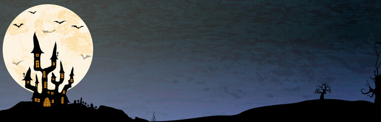 Halloween scary moon banner background