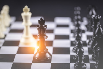 Chess board game Strategy,Planning and Decision concept,business solutions for success.