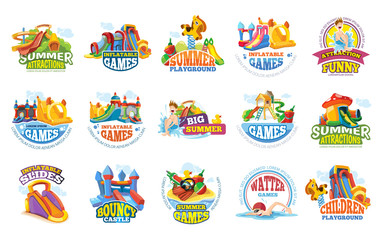 playground labels. aqua water park summer entertainments
