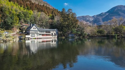 Wall Mural - Timelapse video of Kinrinko Lake in Yufuin, Japan time lapse 4K