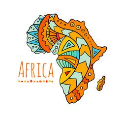 Hand-painted African continent. Banner with the image of a map of africa with ethnic doodle patterns. Vector illustration. Colorful template on the tourist theme.