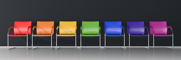 Colorful chairs on dark background - wide banner  Fototapete