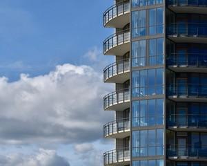 modern scandinavian architecture in grey blue colors, apartement building, Kalmar, sweden