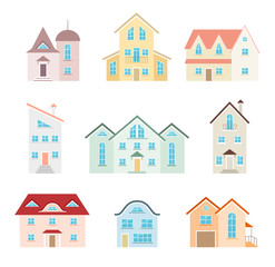 Set of vector icons of houses in flat style. Different buildings to create a map of the city.