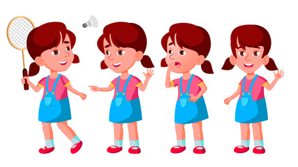 Girl Kindergarten Kid Poses Set Vector. Baby Expression. Preschooler. Life. For Postcard, Announcement, Cover Design. Isolated Cartoon Illustration