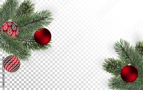 Detailed Christmas Tree Branches And Red Balls On Transparent