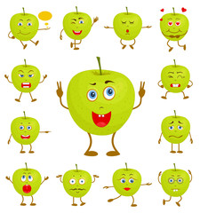 Character cartoon apple. Vector apple with face and hands with different facial expressions.