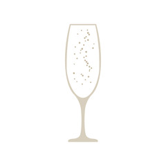 Glass of champagne vector icon